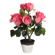 plante artificielle - rosier rose - mica